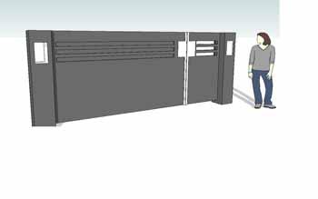 Dichte draaipoort met inbouwlamp Hoving Hekwerk B.V. Stadskanaal